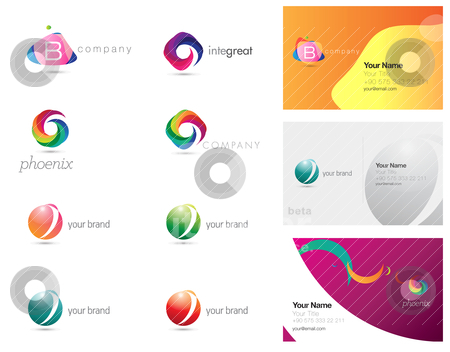 Corporate elements stock vector clipart, vector set of corporate logo and business card elements and templates by HypnoCreative
