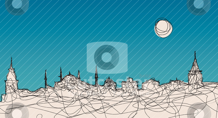 Istanbul Silhouette stock vector clipart, An ?llustration of Istanbul silhouette in an original linear style by HypnoCreative