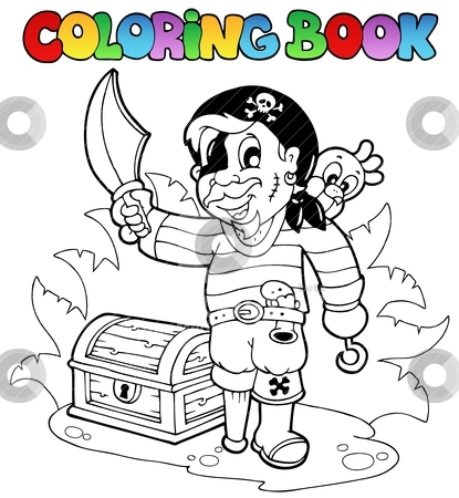 Coloring book with young pirate stock vector clipart, Coloring book with young pirate - vector illustration. by Klara Viskova
