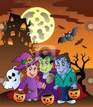 Scene with Halloween mansion 9 stock vector clipart, Scene with Halloween mansion 9 - vector illustration. by Klara Viskova