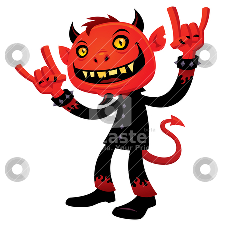 Heavy Metal Devil stock vector clipart, Vector cartoon illustration of a grinning devil character with heavy metal, rock and roll, devil horns hand signs. by John Schwegel