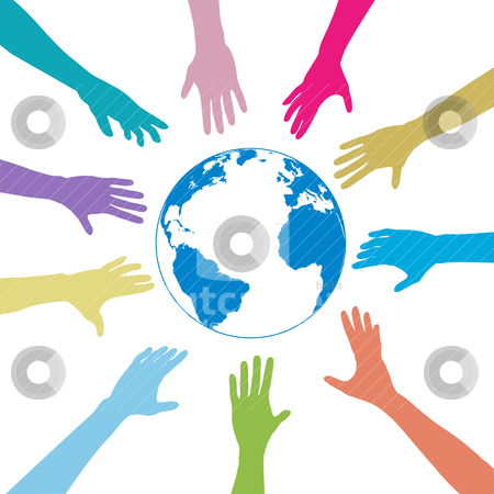 Colors people hands reach out globe earth stock vector clipart, Colorful people hands reach out to a blue globe. by Michael Brown