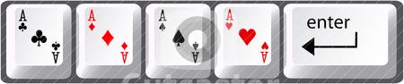 Four aces poker hand computer keyboard keys stock vector clipart, Four aces poker hand card symbols on computer keyboard keys by Michael Brown