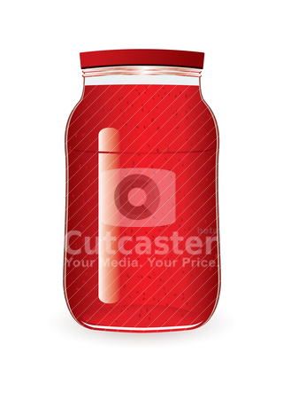 Jam jar strawberry stock vector clipart, Strawberry or raspberry jam in a glass jar by Michael Travers
