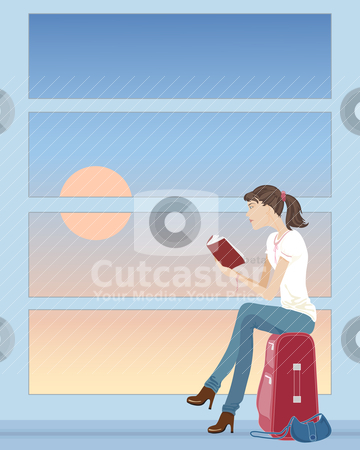 Waiting for a plane stock vector clipart, an illustration of a woman sat on a suitcase reading a book waiting at an airport by Mike Smith