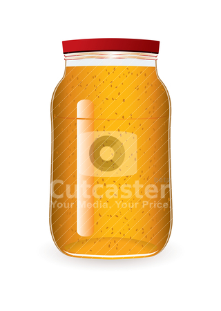 Jam jar marmalade stock vector clipart, marmalade in a glass jar with seeds by Michael Travers