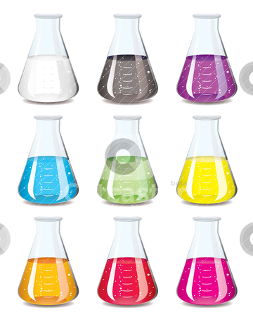 Chemistry flask collection stock vector clipart, Science chemistry flask in a rainbow of colours by Michael Travers