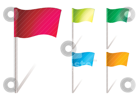 Flapping flag icon stock vector clipart, five brightly colored flapping flags in the wind by Michael Travers