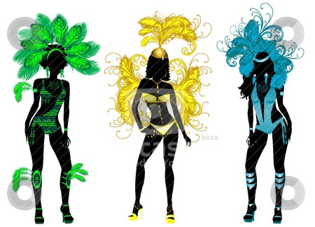 Carnival Silhouettes stock vector clipart, Vector Illustration for Carnival 3 Silhouettes with different costumes. by Basheera Hassanali