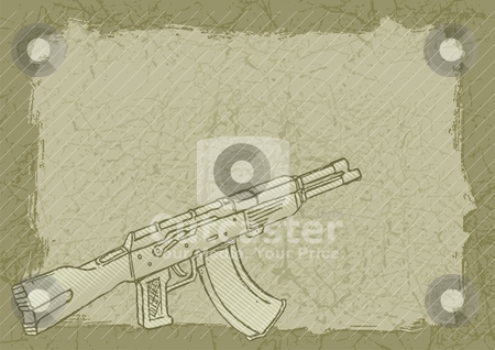 Firearm on grunge stock vector clipart, Firearm sketch with woodcut shading on grunge tan background. by fractal.gr
