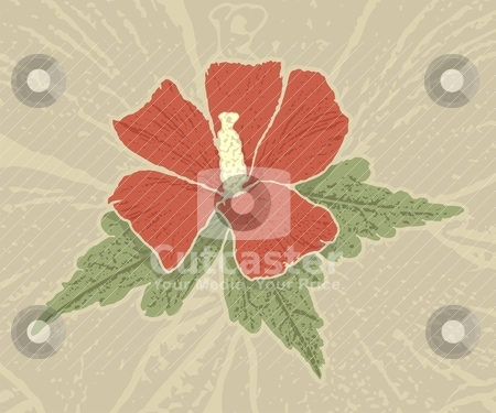 Red hibiscus stock vector clipart, Red hibiscus flower with grunge shading on grunge beige background. by fractal.gr