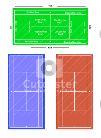 An exact scale vector illustration of a tennis court stock vector clipart, An exact scale vector illustration of a tennis court with markings and dimensions, depicting grass court, hard court and clay court. by Mike Price