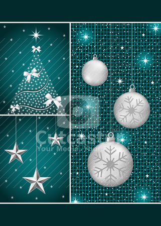 Christmas balls, tree and stars stock vector clipart, Christmas balls in silver with snowflakes, xmas tree and hanging stars on a dark blue themed background. by toots77