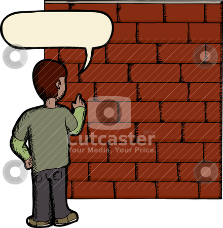 Talking To A Brick Wall stock vector clipart, Wordplay illustration of person talking to a brick wall by Eric Basir
