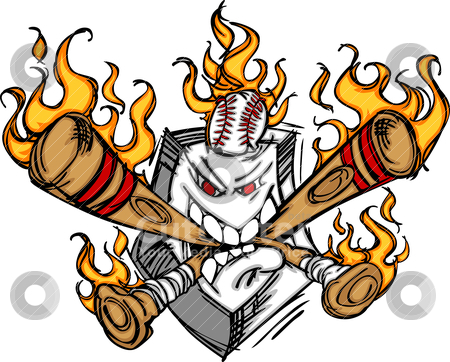 Softball Baseball Plate and Bats Flaming Cartoon Logo stock vector clipart, Cartoon Image of Flaming Baseball Bats and Home Plate with Baseball by chromaco
