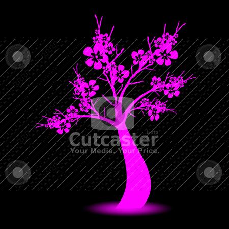 Art tree stock vector clipart, Beautiful art tree on black background by Ingvar Bjork