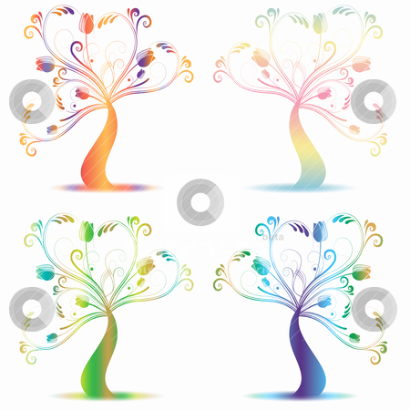 Art trees stock vector clipart, colorfull abstract arts tree on white background by Ingvar Bjork