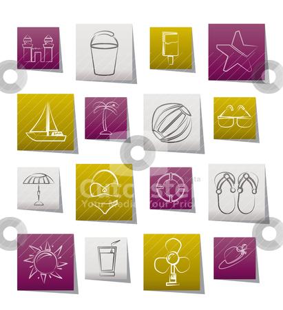 Beach, sea and holiday icons  stock vector clipart, Beach, sea and holiday icons - vector icon set by Stoyan Haytov