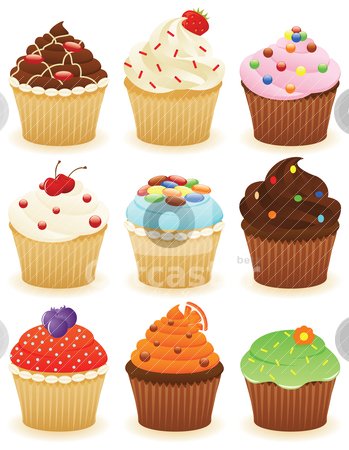 Cupcakes in a group!! stock vector clipart, Set of cupcakes. CMYK with global colors vector illustration.  by wingedcats