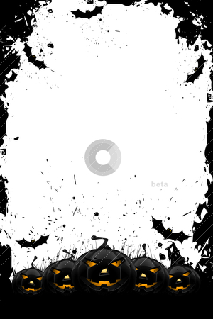 Grungy Halloween frame with pumpkins and bats stock vector clipart, Grungy Halloween frame with pumpkins  and bats isolated on white by Vadym Nechyporenko