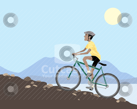 Mountain biker stock vector clipart, an illustration of a mountain biker cycling uphill on a rocky slope with lake and hills under a blue summer sky by Mike Smith