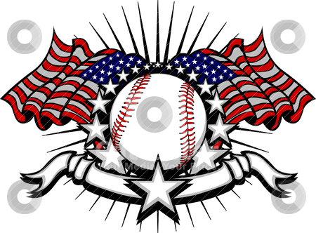 Baseball with Flags and Stars stock vector clipart, Stars and Stripes Patriotic baseball image with American Flags by chromaco