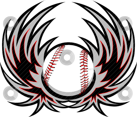 Baseball Template with Wings stock vector clipart, Graphic baseball image template with wings by chromaco