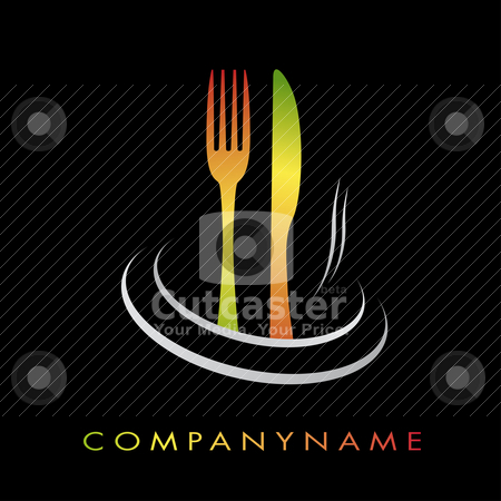 Illustration cooking business stock vector clipart, Illustration with fork and knife for cooking company by tristanbm