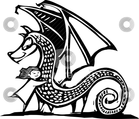 Huggy Dragon stock vector clipart, Young Girl gives a big dragon a hug. by Jeffrey Thompson