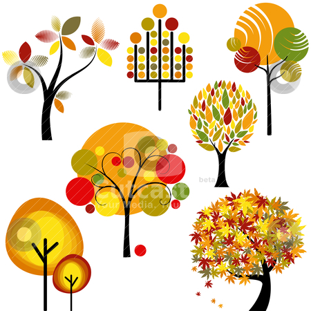Set of abstract autumn tree stock vector clipart, set of abstract colorful autumn tree collection by meikis