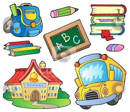 School supplies collection 1 stock vector clipart, School supplies collection 1 - vector illustration. by Klara Viskova