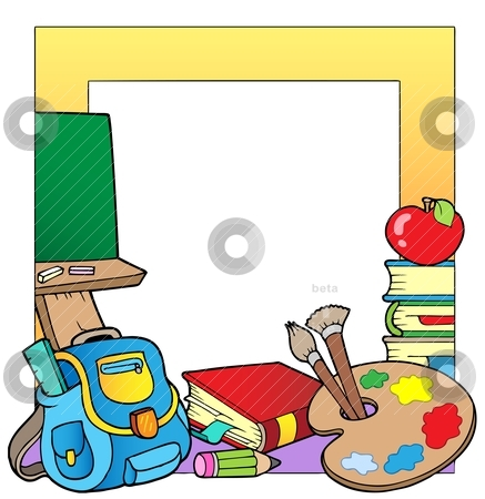School theme frame 2 stock vector clipart, School theme frame 2 - vector illustration. by Klara Viskova