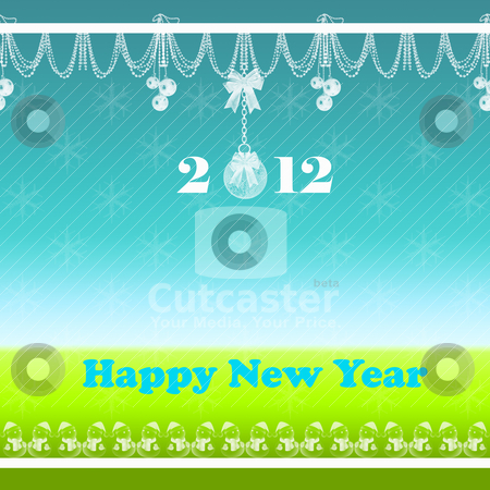 Happy New Year stock vector clipart, Beautiful abstract background of Happy New Year 2012 greeting card   by Sasas Design