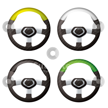 Steering wheel collection stock vector clipart, Collection of modern bling steering wheels with silver trim by Michael Travers