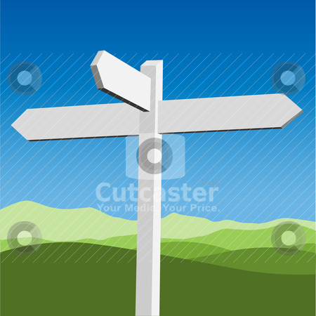 Sign Post stock vector clipart, A Blank White Sign Post by Binkski Art