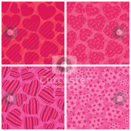 Heart seamless patterns stock vector clipart, 4 different St valentine's seamless patterns. EPS 8 RGB global color vector illustration. by wingedcats