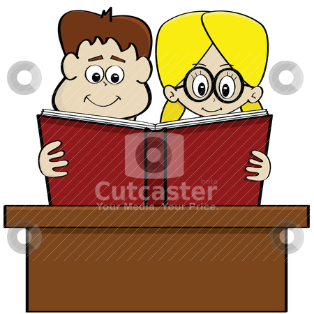 Kids reading a book stock vector clipart, Cartoon illustration showing a boy and a girl studying together reading a book by Bruno Marsiaj