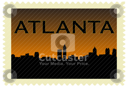 Atlanta Stamp stock vector clipart, City of Atlanta high rise buildings skyline by graphicnado