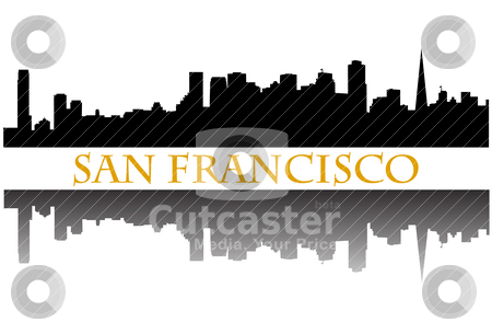 San Francisco  stock vector clipart, City of San Francisco high rise buildings skyline by graphicnado