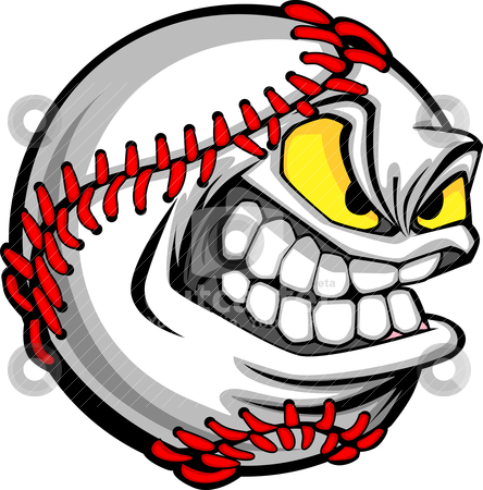 Baseball Face Cartoon Ball Image stock vector clipart, Cartoon Baseball with Mean Face by chromaco