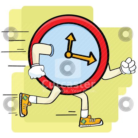 Fast clock stock vector clipart, Cartoon illustration showing a clock running or a fast clock by Bruno Marsiaj