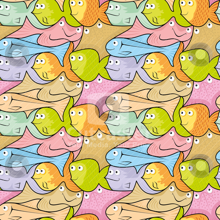 Fish puzzle stock vector clipart, Seamless pattern background of colorful happy, smiling fish cartoons. by fractal.gr