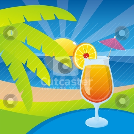 Tequila sunrise stock vector clipart, A glass of tequila sunrise cocktail on a tropical beach background. by fractal.gr