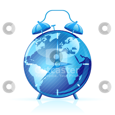 World clock stock vector clipart, Blue world clock isolated on white. Time concept by Vladimir Gladcov