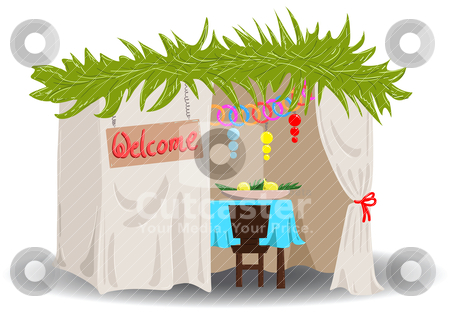 Sukkah For Sukkot stock vector clipart, A Vector illustration of a Sukkah decorated with ornaments for the Jewish Holiday Sukkot. by Liron Peer