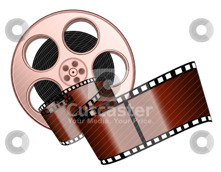 Film roll and strip stock vector clipart, Film roll and strip isolated by Laurent Renault