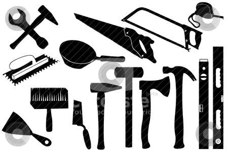 Hand tools stock vector clipart, Hand tools isolated on white by Ioana Martalogu