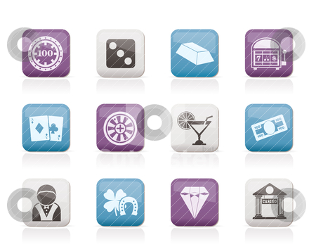 Casino and gambling icons stock vector clipart, casino and gambling icons - vector icon set by Stoyan Haytov