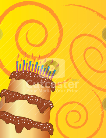 Happy birthday chocolate cake greeting card  stock vector clipart, Happy birthday chocolate cake on yellow background. This vector image can be scaled to any size without loss of quality. The different graphics are all on separate layers so they can easily be moved or edited individually. by AGcuesta