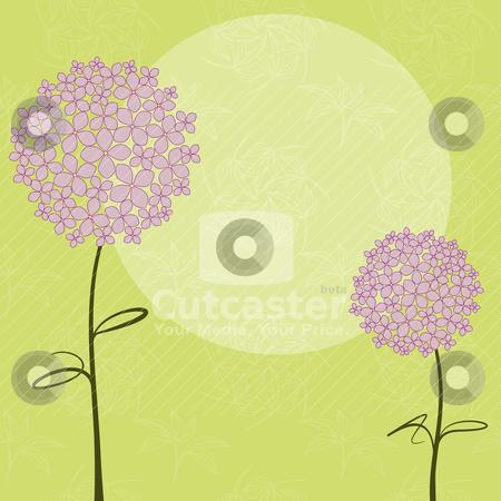 Abstract springtime purple Hydrangea flower stock vector clipart, Abstract springtime purple pink Hydrangea flower on green seamless pattern background by meikis